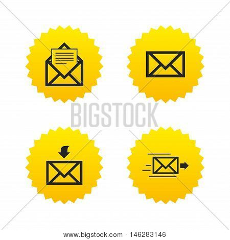 Mail envelope icons. Message document delivery symbol. Post office letter signs. Inbox and outbox message icons. Yellow stars labels with flat icons. Vector