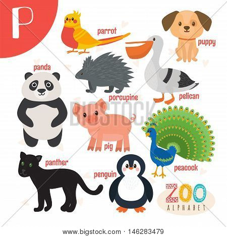Letter P. Cute Animals. Funny Cartoon Animals In Vector. Abc Book