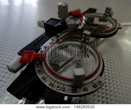Ophthalmological testing equipment for eye diagnostics stock photo