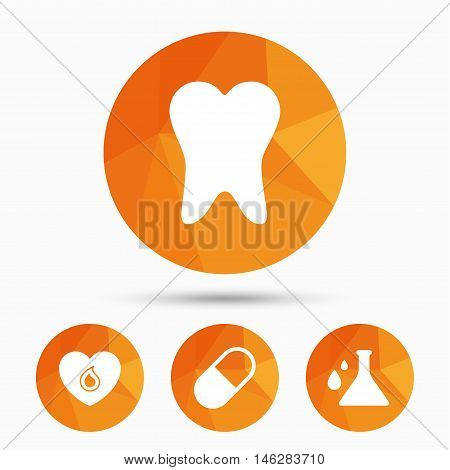 Maternity icons. Pill, tooth, chemistry and heart signs. Blood donation symbol. Lab bulb with drops. Dental care. Triangular low poly buttons with shadow. Vector