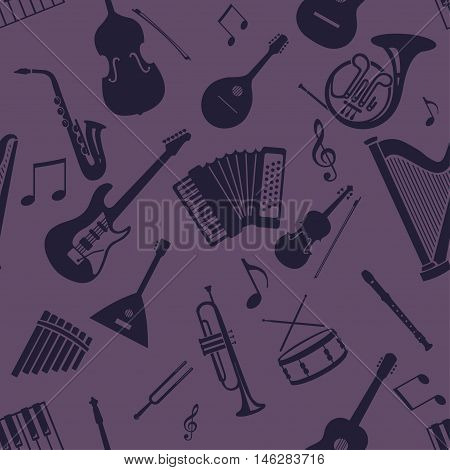 Vector Seamless Pattern Of Musical Instriments