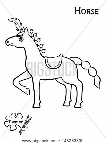 Children's Coloring Book That Says Paint Me. Horse