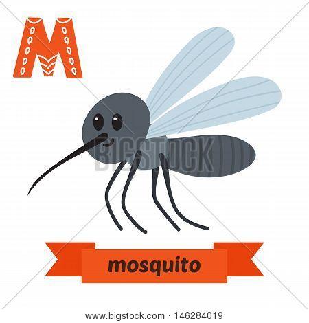 Mosquito. M Letter. Cute Children Animal Alphabet In Vector. Funny Cartoon Animals