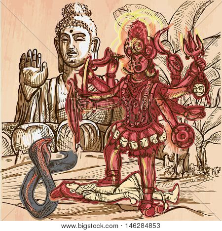 KALI. Hindu Goddess posing with her victim in front of big Buddha statue. Freehand sketching line drawing. An hand drawn vector illustration. Colored line art technique.