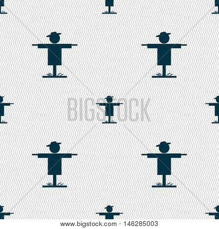 Scarecrow Icon Sign. Seamless Pattern With Geometric Texture. Vector