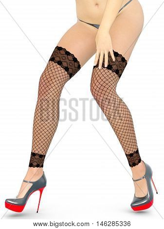 Fishnet leggings female feet. Stockings, panties and high heels. Woman standing in candid provocative pose. Conceptual fashion art. Isolate. Studio, high key. Photorealistic 3D rendering illustration.