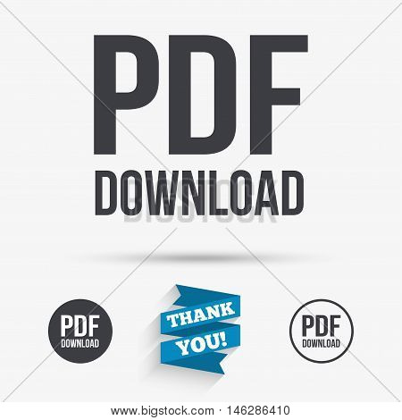 PDF download icon. Upload file button. Load symbol. Flat icons. Buttons with icons. Thank you ribbon. Vector