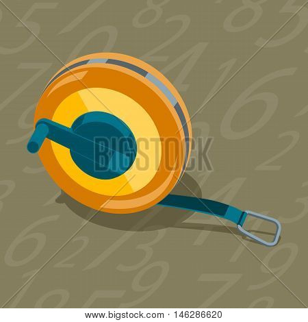 Measuring tape stylized construction tools. Seamless pattern background figures. Stock vector illustration.