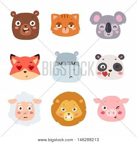 Cute animal head with emotion vector avatar. Cartoon happy animal emotion expression isolated face character. Adorable mammal emojji avatar animal emotions. Animal character cute little style