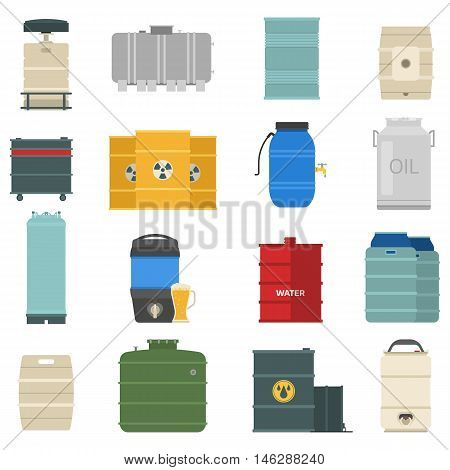 Stack different oil drums container liquid cask storage object. Rows of steel barrels capacity tanks. Natural wooden barrel capacity tanks. Wine old beverage alcohol barrel capacity tanks vector set.