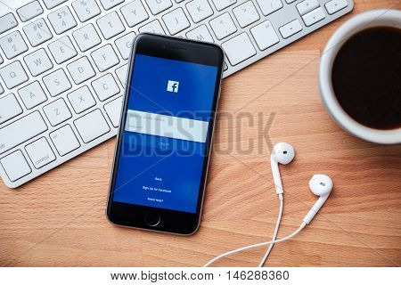 CHIANGMAI, THAILAND -April 14, 2016. Iphone screen with Facebook app. Facebook is an online social networking service founded in February 2004 by Mark Zuckerberg and is now a fortune 500 company