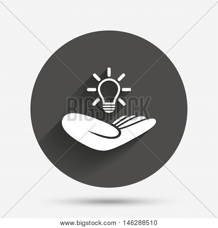Idea patent insurance sign. Hand holds lamp bulb symbol. Intellectual Property. Circle flat button with shadow. Vector