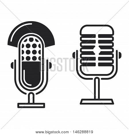 Microphone vector icon illustration isolated on white background. Vector microphone icon sign. Mike black icon, mike voice tool