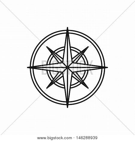 Compass wind rose in outline style isolated on white background vector illustration