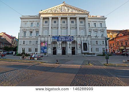 ARAD ROMANIA - AUGUST 26 2016: Facade from building theatre Ioan Slavici in Arad Romania. Days of de City.