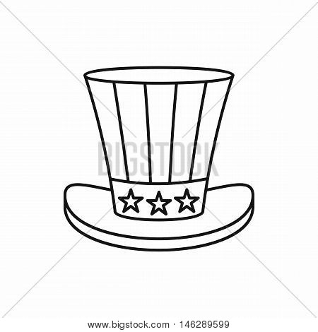 Uncle Sam Hat in outline style isolated on white background vector illustration