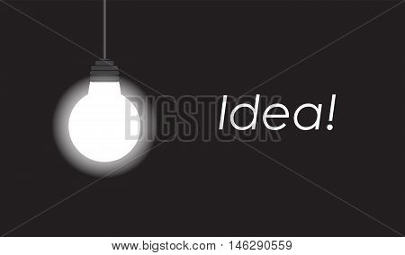 Bulb with glowing on black background with copy space. Vector illustration