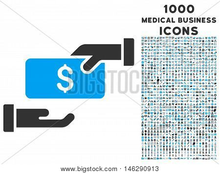 Bribe glyph bicolor icon with 1000 medical business icons. Set style is flat pictograms, blue and gray colors, white background.