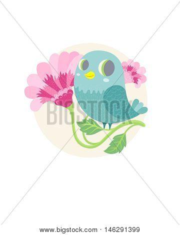cute happy cartoon blue bird. vector illustration