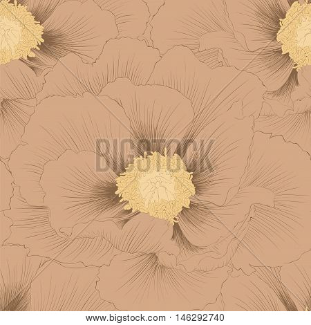 Beautiful seamless background with flowers Plant Paeonia arborea (Tree peony) . Hand-drawn contour lines and strokes.