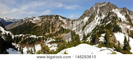 Panoramic View of Olympic Mountains.  Olympic National Park, Washington