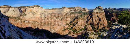 Summit Panorama of Sandstone Canyon Zion National Park, Utah