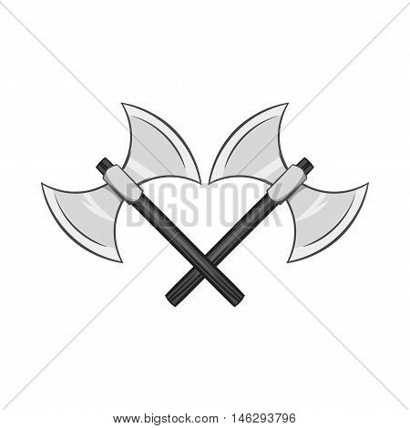Battle axes with two tips icon in black monochrome style isolated on white background. Combat weapon symbol vector illustration