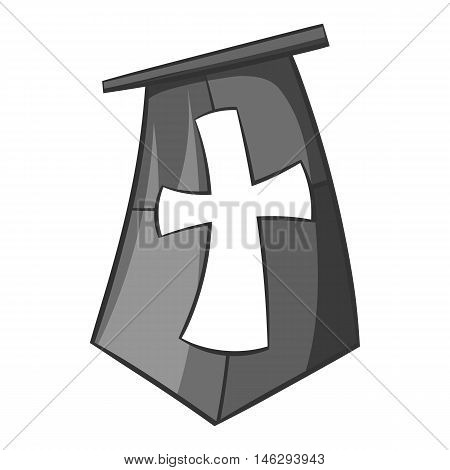 Flag of crusaders icon in black monochrome style isolated on white background. Distinction symbol vector illustration