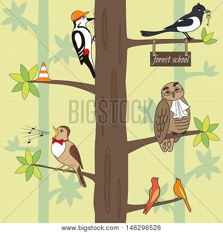 Seamless pattern cartoon birds on a tree. Owl woodpecker magpie nightingale. Vector illustration can be used for creating card or for wallpaper and textile.