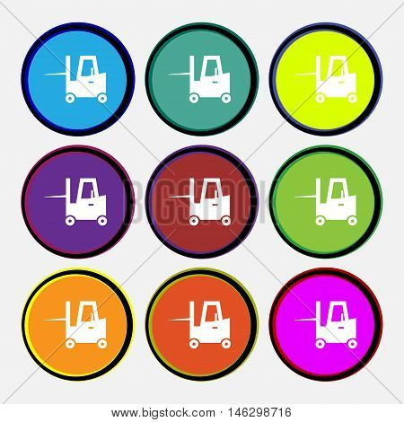 Forklift Icon Sign. Nine Multi Colored Round Buttons. Vector