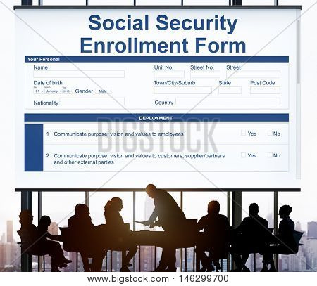 Social Security Enrollment Form Document Concept