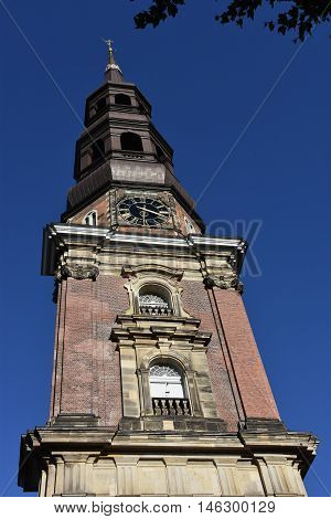 HAMBURG, GERMANY - AUG 25: St Catherines Church in Hamburg, Germany, as seen on Aug 25, 2016. It traditionally served as the church of the seamen.