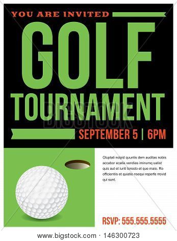 Golf Tournament Flyer Invitation Illustration