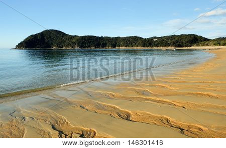 Sandy Tropical Beach and Headland  Anchorage Bay, Abel Tasman National Park, New Zealand