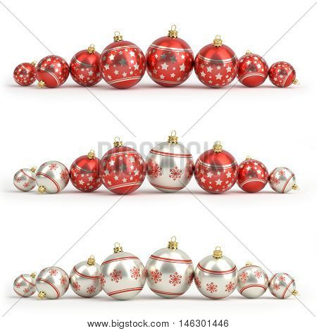 Collection of red and silver christmas balls. White isolated - 3D render