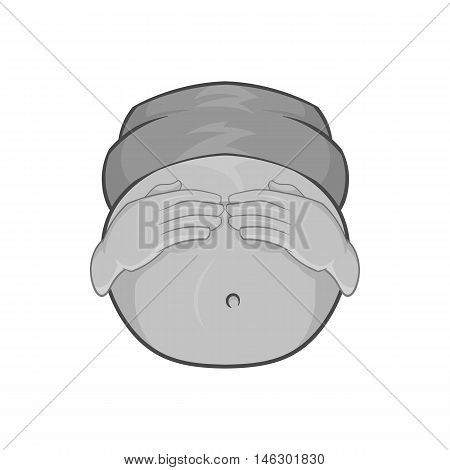 Pregnant belly icon in black monochrome style isolated on white background. Pregnancy symbol vector illustration