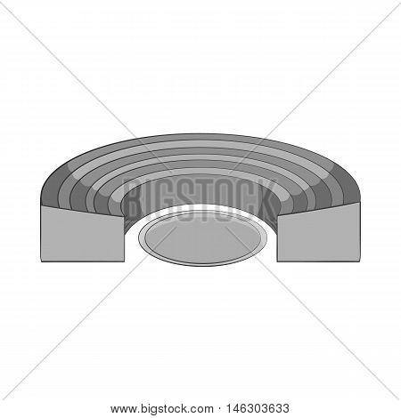 Semicircular stadium icon in black monochrome style isolated on white background. Championship symbol vector illustration