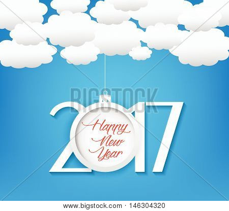 Happy new year 2017 cloud and sky background