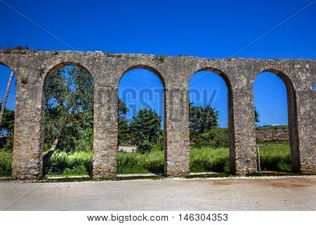 Ancient Usseira Aqueduct Obidos Portugal. Aqueduct created in 1575.