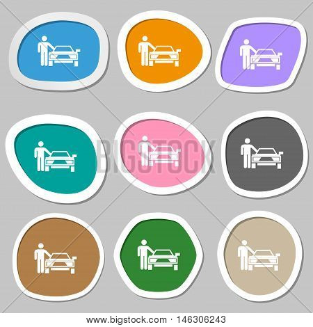 Person Up Hailing A Taxi Icon Symbols. Multicolored Paper Stickers. Vector