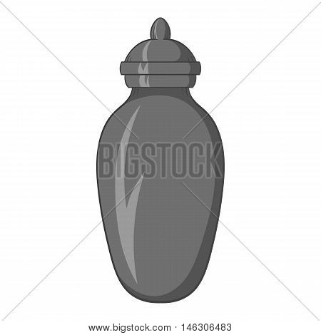 Urn for ashes icon in black monochrome style isolated on white background. Death symbol vector illustration