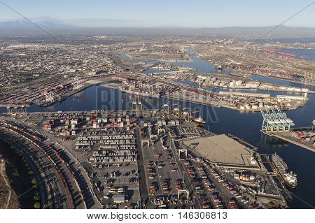 Los Angeles, California, USA - August 16, 2016:  Aerial view of Wilmington and the Port of Los Angeles in Southern California.