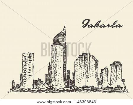 Jakarta skyline vintage engraved illustration, hand drawn, sketch