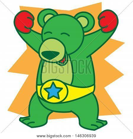 Boxer Bear vector art illustration TShirt design