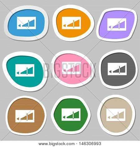 Volume Adjustment Icon Symbols. Multicolored Paper Stickers. Vector
