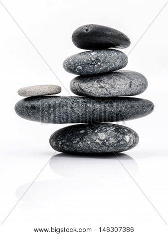 The Stack Of Stones Spa Treatment Scene Zen Like Concepts. The Stack Of Stones Spa Isolated On White