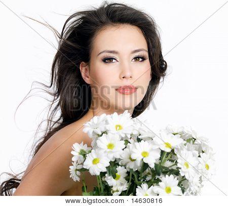 Beautiful Girl With Camomiles