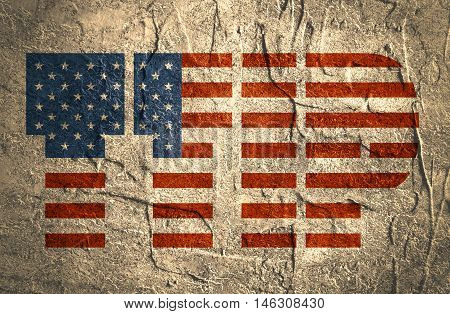 TTIP - Transatlantic Trade and Investment Partnership. Europe and USA association. Textured by concrete
