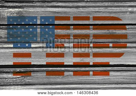 TTIP - Transatlantic Trade and Investment Partnership. Europe and USA association. Textured by wood
