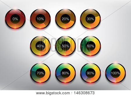 Collection of 10 modernly designed loading spinners or progress loading bars in different loading state and percentage. Designed with realistic transparent glass shine and shadow on the white background. Vector illustration. Eps10.